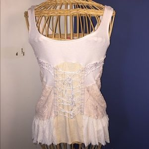 Free People Tie Front Lace Corset Tank Top